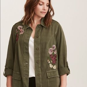 Torrid Floral Embroidered Twill Shirt Jacket